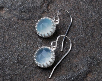 Blue Chalcedony Earrings- Blue Chalcedony Gemstone Earrings- Bridesmaid Jewelry Gift- Silver And Gemstone Earrings- Blue Chalcedony Jewelry