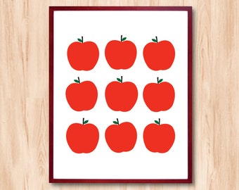 Apples art print - Personalized gift Typographic Art Children room decor Kids Room Art Home Decor Wall decor Bathroom decor Kitchen decor