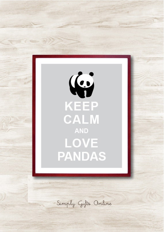 Keep Calm and Love Pandas - Instant Download, Personalized Gift, Inspirational Quote, Keep Calm Poster, Animal Art Print, Kids Room Decor