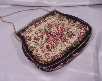 Charming Tapestry Metal Frame Purse Needlepoint Look Austria