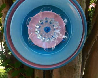 Glass Garden Flower--Pretty in Pink and Aqua-Garden Whimsy-Yard Art