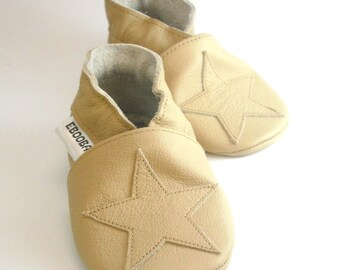 soft sole baby shoes infant kids children beige star on beige 12 18 ebooba ST-14-BE-M-3