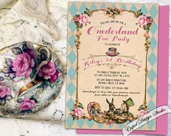 Alice in Wonderland 1st Birthday invitation. Unbirthday mad hatter Tea Party invite. Onederland tea party invitation. Mad hatter invitation.