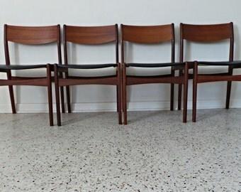set of 4 mid century Danish modern Frem Rojle teak black leatherette dining chairs