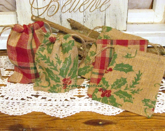 Burlap Gift Bags, Christmas Plaid & Holly Burlap Bags, Rustic Favor Bags, Burlap Christmas Bags, 5 Handmade Rustic Bags, Teacher Gift Bags