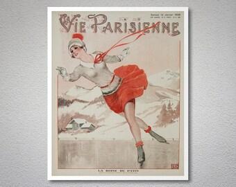 La Vie Parisienne, La Reine du Patine Magazine Cover , January 1929 Vintage Poster - Poster Paper, Sticker or Canvas Print