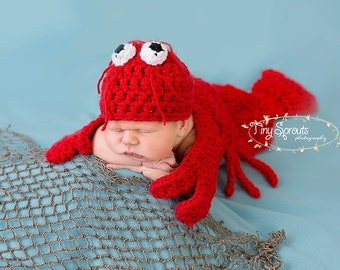 Crochet Lobster Cape Set Newborn-3-6mo MADE TO ORDER Photography Prop