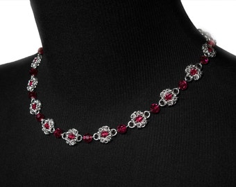Red ROYAL RICARDO Necklace silver plated