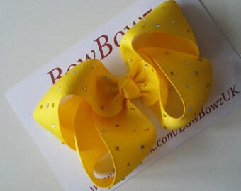Big Yellow Crystal Embellished Boutique Bow