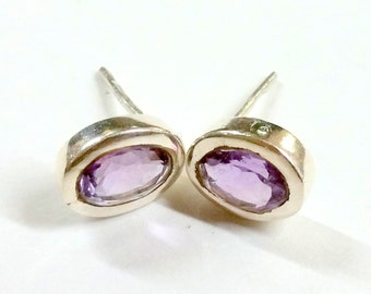 Vintage Amethyst and Sterling Silver Post Earrings