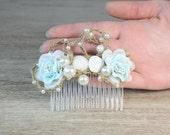 Beach Wedding Light Blue flower Bridal  Sea Shells Comb Nautical Hawaiian Weddings Hair Accessories Bridal Pearl Headpiece Comb Wedding Hair