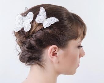White Lace Butterfly Hair Pins, Wedding Hair Accessories, Bridal Hair pins, Bridal Headpieces, set of three ( 3 )