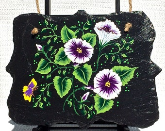 Slate Wall Hanging Hand Painted With Purple Flowers, Mothers Day Gift, Wall Art, Home Decor, Slate Wall Hanging, Art, Housewarming Gift