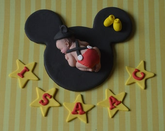 Personalized baby mouse cake topper