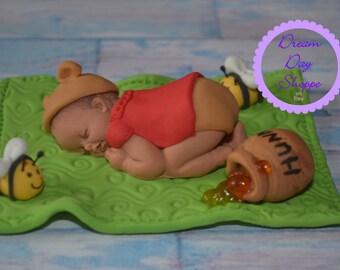 Sleeping baby bear cake topper - Winnie the Pooh inspired