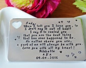 personalised metal card wallet insert hand stamped aluminium or copper