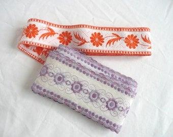 Vintage embroidered ribbon - antique ribbon trim - vintage Jacquard ribbon - vintage embroidered ribbon - vintage French ribbon
