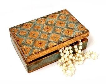 SALE Florentine Jewelry Box ,Vintage Italian Wedding Box ,Florentine Gilded Wooden trinket box,Mint Turquoise Aqua  Trinket Box