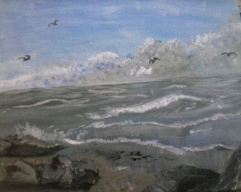 """11×14"""" stretched canvas seascape in acrylics"""