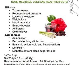Simply Natural 100% Organic Hibiscus Flower Lemongrass Herbal Tea (30 Tea Bags) Caffeine Free