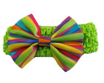 Rainbow Baby Headband, Rainbow Headband, Baby Head Band, Infant Headband, Multicolor Hair Bow, Hairbow