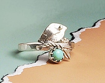 Turqouoise and Silver Bird Ring, Bird and Branch Ring, Bird and Turquoise Ring, Turquoise, Bird Jewelry, Silver Bird, Silver Bird Ring, Bird