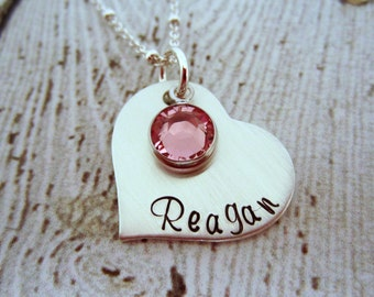 Birthstone Necklace, Mommy Necklace, Heart Jewelry, New Mom Gift, Birthstone Necklace, Mommy Jewelry, Personalized Mom Jewelry