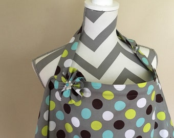 Grey Nursing Cover - grey polka dots grey breastfeeding cover hooter hider with a fabric flower clippie - Ready to ship