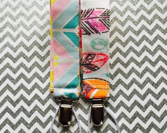Pacifier clip - bright feathers chevron pacifier clip feathers binky clip