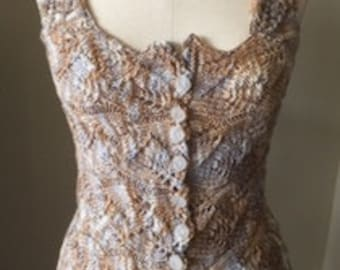 CUSTOM ORDER  Romantic Victorian Style Hand Knit Antique Lace Corset Bodice Bohemian Renaissance Steampunk Goth Highlander Wedding