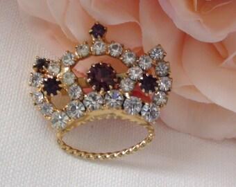 Vintage Rhinestone Crown Brooch,Amethyst and Clear Rhinestones