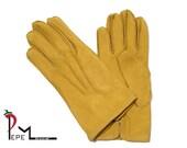 Soft deerskin ocher yellow leather women gloves with silk lining size 7 - ROMINA