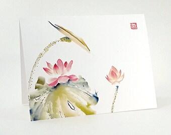 Minimalist Pink Lotus Blank Art Note Card Set of 8 A2 Size