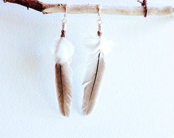 Wattle bird and White Cockatoo feather earrings - 925 sterling silver hooks