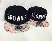 Blondie and Brownie Trucker Snapback Floral Pink Best Friends Strap back Flower Flat Bill Black Hat Blonde Brunette
