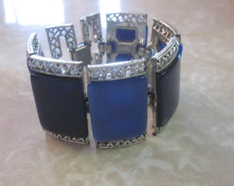 Vintage CORO Blue Two Tone Wide Silver Filagree Chain Link Bracelet, Gifts For Her, Birthday, Designer, Holiday, Statement Bracelet