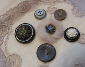 Handmade Vintage Buttons Mink Fur Refrigerator Magnet Set of 6 (#15)