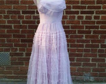 SPRING CLEANING Vintage 50s 60s Tulle Prom Dress Small Lavender Pink