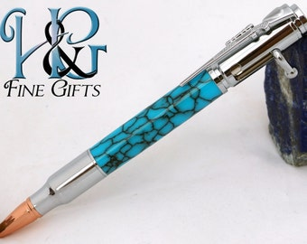 Bolt Action Bullet Pen in marbled turquoise acrylic, chrome pen with rifle clip, handcrafted pen for him or her, hunter pen bullet pen rifle