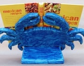 Handmade Rustic Blue Crab Cookbook Stand Holder, iPad Stand, Easel