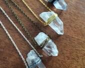 Gaia Necklace - Crystal Quartz, Leather, Wire, Silver, Gold, Antique
