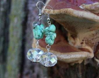Crystal Green Turquoise Earrings
