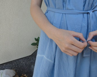 HAND-DYED: light summer dress with knott, herbal dyed in indigo or some other natural color