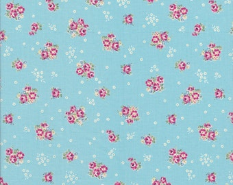 Blue Floral Fabric - Rose Fabric - Yuwa- Sunday 9- Reproduction Fabric SD119524 D