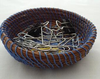 Blue Basket Trinket Basket Pine Needle Basket Pine Coiled Basket Storage Basket For Him Basket For Her Housewarming Basket Wedding Basket