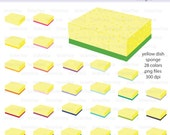 Yellow Dish Sponge with Scrubbie Digital Clipart - Instant download PNG files - Ereader