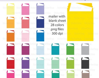 Envelope Mailer Icon Digital Clipart in Rainbow Colors - Instant download PNG files