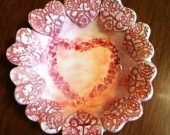 Handmade Ceramic Soap Dish With Hearts