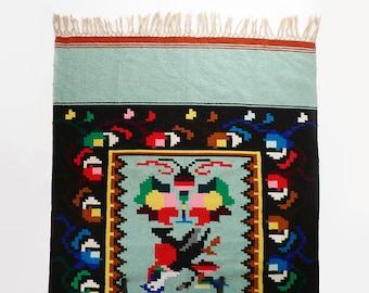 Vintage Hopi Southwestern Carpet / 1940s Woven Textile