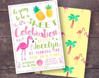Pineapple Invitation, Flamingo Invitation, Tropical Party Invitation, Girls Summer Invitation, Pineapple Party, Pineapple Flamingo Party